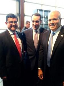 Mischler Rates Trader Glen Capelo (l), Duke University Coach K Krzyzewski (c) Mischler CEO Dean Chamberlain (r)